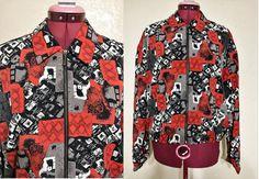 vintage 80's Kensington Square jacket. red black and by june22nd