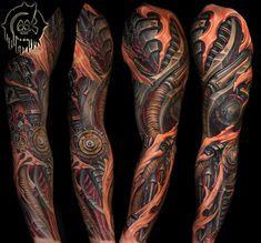 Biomechanical Tattoo Sleeve - by Julian Siebert