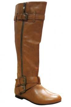 Cognac Side Zipper Boots : Swoon Boutique