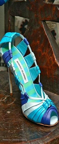 Manolo Blahnik ~ Summer Peep Toe Leather Sandal Heel in Multi Blues 2014