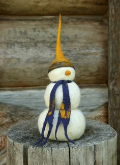 100% wool - Needle felted Snowman with nuno felted hat and scarf. by Ginger Halverson - http://virtualdistortion.etsy.com