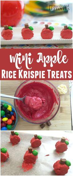 Mini Apple Rice Krispie Treats- These apple shaped Rice Krispie dessert treats…