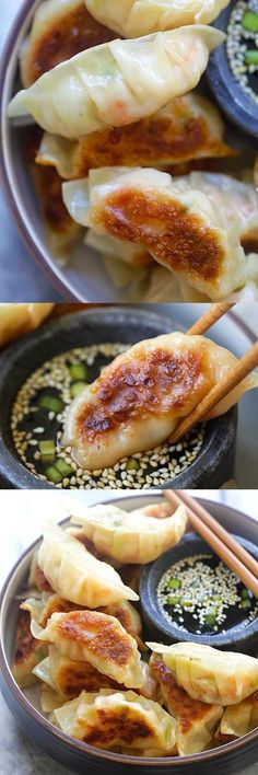 Amazing Japanese gyoza dumplings filled with shrimp and cabbage. Crispy, juicy and so easy to make at home | rasamalaysia.com