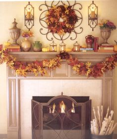 I've been on a quest for mantel ideas of late. I redid the artwork around my mantels recently and wasn't quite ready to decorate for fall . Living Willow, Willow House, Fall Fireplace, Southern Living Homes, Candle Sconces, Fall Decor, Living Room Decor, Interior, Mantel Ideas