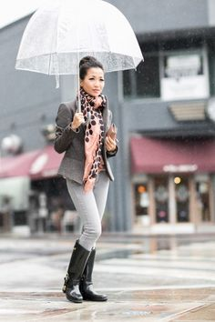 Top :: AllSaints blazer (again here) (similar here)  Bottom :: Paige denim  Bag :: Chloe wallet  Shoes :: Ralph Lauren rainboots (women's sizeshere)  Accessories :: Marc Jacobs scarf (old) (similar here), Target umbrella