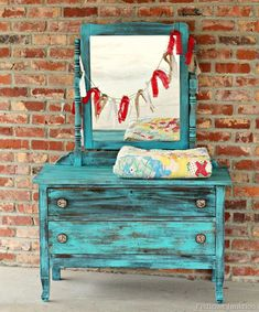 Turquoise paint and new knobs from Hobby Lobby spruce up a junky dresser. Petticoat Junktion #hobbylobby