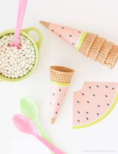 Free Printable Watermelon  Ice Cream Cone Wrappers. Perfect for summer or fruit-themed parties! - bjl