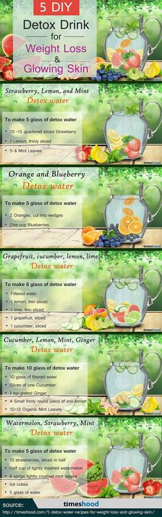 5 DIY Detox Drink for Weight Loss and Glowing Skin day detox diät diät 3 tage drinks rezepte rezepte abnehmen smoothie rezepte toxins wasser rezepte weightloss Healthy Detox, Healthy Drinks, Healthy Life, Healthy Water, Healthy Food, Healthy Juices, Healthy Weight, Infused Water Recipes, Fruit Infused Water