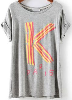 Grey Short Sleeve K Print Loose T-Shirt pictures