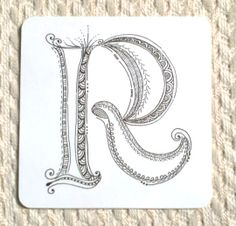 """Nice Zenspirations Monogram """"R"""" by Sue's tangle trips"""