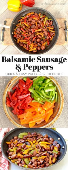 Balsamic sausage and peppers recipe. Delicious & easy dinner ready in under 20 minutes. Gluten-free, dairy-free, and paleo! Plus it's toddler and husband approved!
