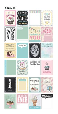 The Sweet Life collection by Everyday is a Holiday for Melissa Frances CHA Winter 2014 Perfect ATC! Printable Planner, Planner Stickers, Printables, Project Life Cards, Journal Cards, Journal Notebook, Christmas Scrapbook, Pocket Letters, Smash Book