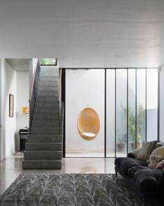This south London house extension by Studio Octopi features a pre-cast concrete staircase that had to be craned into position Interior Architecture, Interior And Exterior, Interior Design, Basement Conversion, Concrete Staircase, Narrow House, Underground Homes, London House, Home Renovation