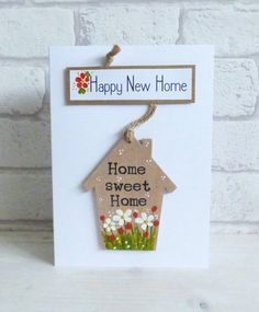 'Happy New Home', Home Sweet Home, Detachable keepsake Heart, Greeting Card New House Gifts, New House Card, House Of Cards, Cards Diy, Paper Cards, New Home Greetings, Watercolor Birthday Cards, Happy New Home, Moving Gifts