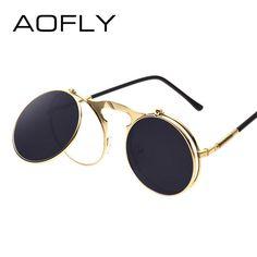 6b8f0bb41b VINTAGE STEAMPUNK Sunglasses round Designer steam punk Metal OCULOS de sol  women COATING SUNGLASSES Men Retro