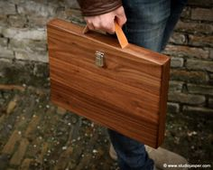 Beautiful wood briefcase.