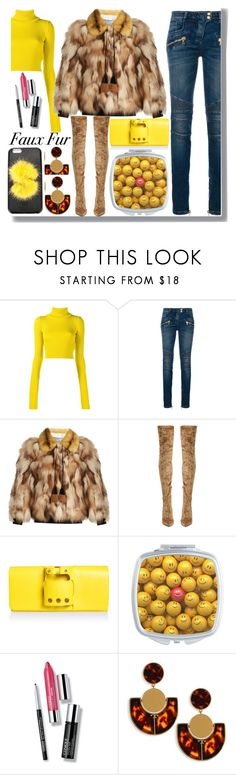 """""""Faux Fur"""" by drigomes ❤ liked on Polyvore featuring Jacquemus, Balmain, Prada, Jimmy Choo, Clinique, Tory Burch and Fendi"""