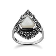 Sterling Silver 1.50ct Mother of Pearl & 0.28ct Marcasite Art Deco Style Ring
