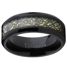 Oliveti Men's Titanium Celtic Dragon Inlay Comfort Fit Wedding Band