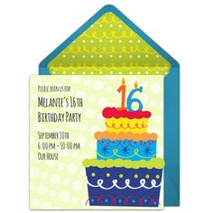 Free 16th birthday party invitation with a funky cake design. Love this design for a fun 16th birthday party!  https://www.birthdays.durban