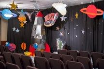Having the right layers for your main set makes all the difference in outer-space. More great VBS decorating resources can be found at http://group.com/vbsTools.