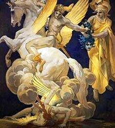 Myth of Perseus and Medusa - Perseus on Pegasus gives the head of Medusa to Athena by John Singer Sargent (1856-1925).