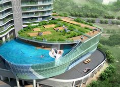 37-story residential skyscraper in Mumbai, India, called the Aquaria Grande Tower (currently under construction) will have the most awesome feature ever: glass swimming pools where the balconies normally go for some of the apartments.