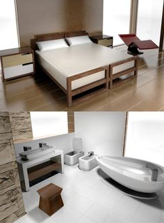 Classic Contemporary Furniture bedroom and bathroom set for modern dollhouses - the perfect complement for Emerson House and Bennet House