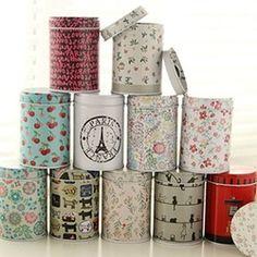 Online Shop Multi-teste padrão colorido duplo capa pequeno cilindro palito de armazenamento de alimentos chá caddy estanho lata caixas|Aliexpress Mobile