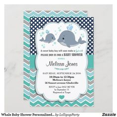 Whale Baby Shower Personalized Invitation Baby Boy Personalized Invitations, Custom Invitations, Invitation Design, Party Invitations, Baby Shower Invitation Cards, Baby Shower Invitations For Boys, Baby Shower Diapers, Baby Boy Shower, Adult Halloween Invitations