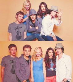 Joseph Morgan, Candice Accola, Paul Wesley, Nina Dobrev, and Ian Somerhalder......and slightly switched in second image.