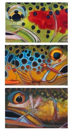 Trout Trio – Bow, Brown, Brook with Flies Giclee Print