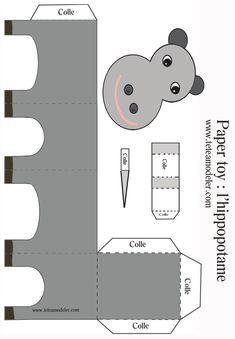 Paper toy hippopotame sur Tête à modeler