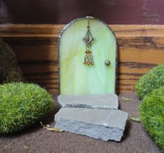 green glass - door | SALE, Fairy Door, Green Stained Glass