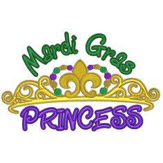 Mardi Gras Princess Filled Machine Embroidery Digitized Design Pattern