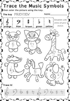 Funny worksheets to trace basic Music Symbols for younger kids. Small arrows near each symbol show where to start the drawing. This set contains 26 trace and color music worksheets in two different formats.