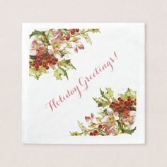 Holly, Flowers and Berries Christmas Paper Napkin
