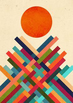 Sun Shrine  - Abstract colorful geometric illustration of the sun on top of a shrine. by Budi Satria Kwan