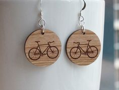 Wood Bike Earrings - Small Round Standard Hook. $20.00, via Etsy.