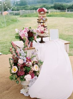 Top Spring Wedding Decor Ideas ★ spring wedding decor vintage stand with bright flowers and drip cake baxterandted Lilac Wedding, Floral Wedding, Wedding Flowers, Dream Wedding, Wedding Day, Wedding Bells, Flower Bar, Spring Wedding Decorations, David Austin Roses