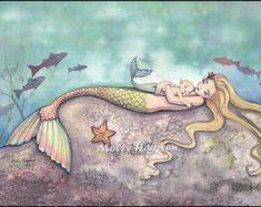 Sirena y arte bebé sellos impresión 9 x 12 por MollyHarrisonArt
