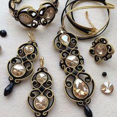 Soutache set More Soutache Bracelet, Soutache Pendant, Soutache Jewelry, Beaded Earrings, Earrings Handmade, Handmade Jewelry, Bead Embroidery Jewelry, Fabric Jewelry, Embroidery Hearts