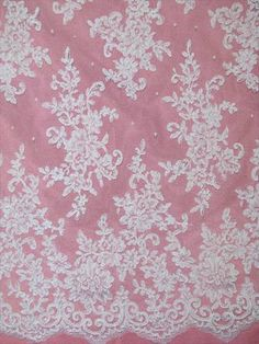 """AL6879C White Allover reembroidered floral lace with scalloped border. Great for bodice or entire dress. 54"""" wide"""