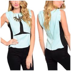 Fresh Mint Top This modern two-tone sleeveless woven top has a contrast colored inset with flutter sleeves. Exposed zip back closure. 100% Polyester  A20 Tops
