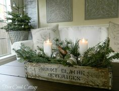 Decorations – Winter Table Ideas & More! Winter Decorations - Winter Table Ideas & More! - MoreWinter Decorations - Winter Table Ideas & More! Farmhouse Christmas Decor, Primitive Christmas, Rustic Christmas, Coffee Table Christmas Decor, Primitive Decor, Christmas Mantles, Vintage Christmas Decorating, French Christmas Decor, Christmas Greenery