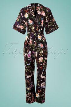 Kerri Floral Kimono Jumpsuit in Black Floral Kimono, Overall, Retro Vintage, Jumpsuit, Tops, Pants, Black, Dresses, Fashion