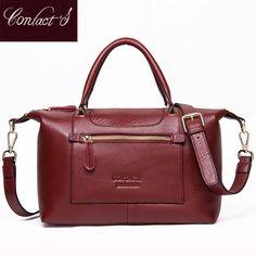 Fashion Genuine Leather Top-handle Women Handbag Casual Large Capacity Tote  Crossbody Bags Solid Ladies Zipper Shoulder Bag b194376f705fa