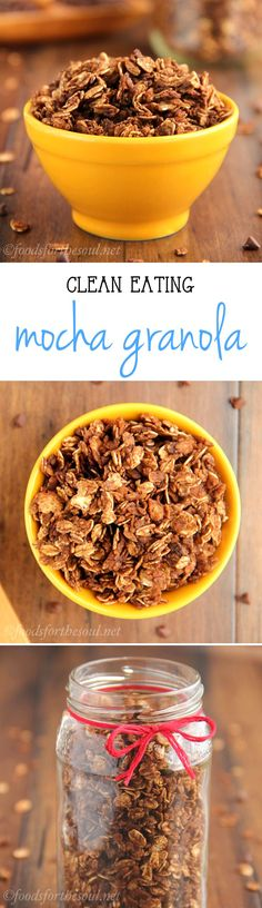 Clean-Eating Mocha Granola -- crunchy clusters full of coffee & chocolaty flavors! Just 6 ingredients in this healthy recipe!