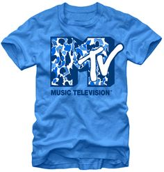 This men's MTV tshirt features a 1980s style logo with blue and white camouflage colored into the M. This blue tee is made from 100% cotton.