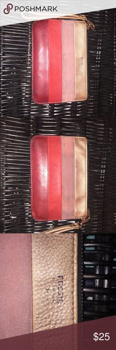 Genuine Fossil Clutch/Wristlet Slightly used, genuine Fossil brand, very practical and fits perfectly inside a purse! Can be used as wallet as I used it or as an extra clutch, I generally accept all offers when reasonable so full free to do so :) Fossil Bags Clutches & Wristlets